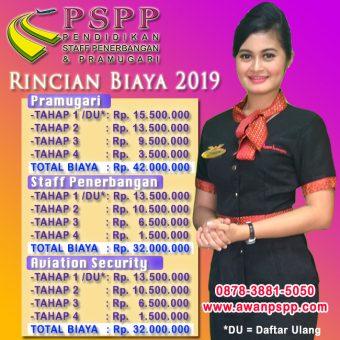 rincian biaya pspp penerbangan 2018, Rincian Biaya PSPP Penerbangan 2018/2019