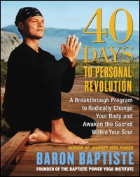 Book cover art: Baron Baptiste seat in a yoga pose