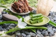 Sliced Aloe Vera leaves on plate, spa elements