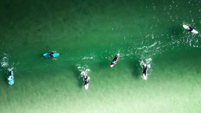 surfistas no mar