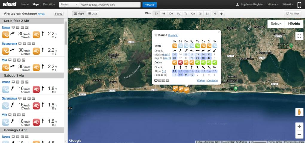 wisuki previsão ondas