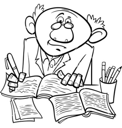 professor or writer cartoon coloring page