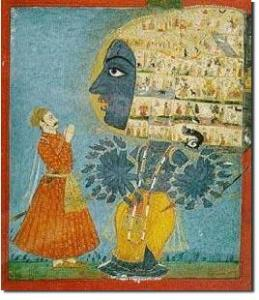 Krishna Appearing to Arjuna in his Universal Form (as Vishvarupa), from B. Gita, Ch. 11.