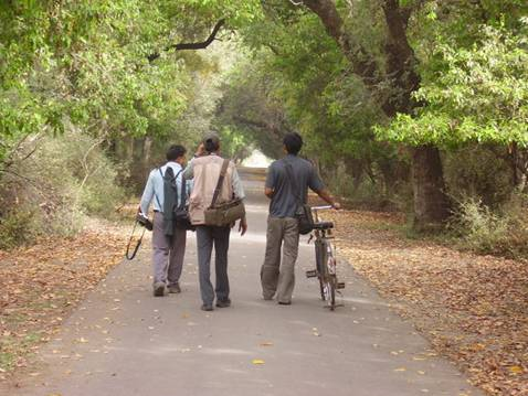 Dusk at Bharatpur..Tirtha da walking with his students after a tranquil day at Bharatpur-India
