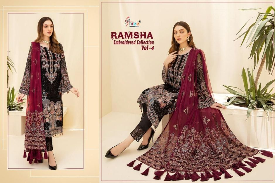 shree fabs ramsha embroidered collection vol catalogue surat