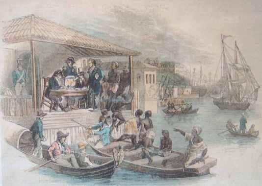 Indian peasants disembarking in Port Louis, Mauritius