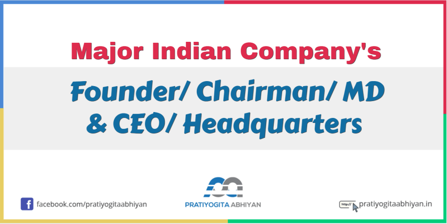 Founder/ Chairman/ MD & CEO/ Headquarters of Major Indian Companies