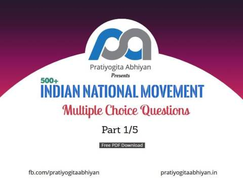 500+ MCQ Indian National Movement PDF Download for WBCS