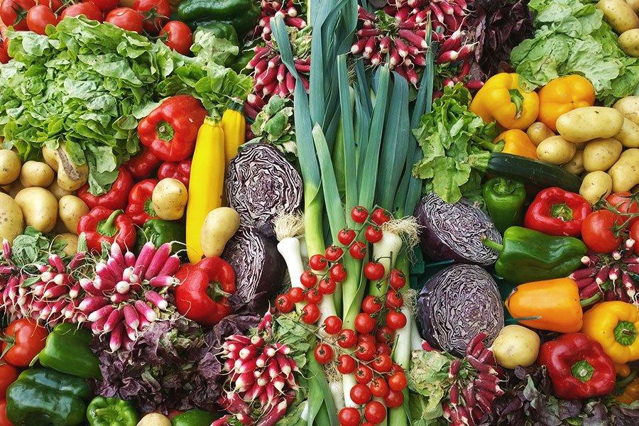 Diversos vegetais frescos disposto em uma mesa
