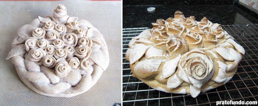 Comparativo do pão decorativo antes e depois de assar