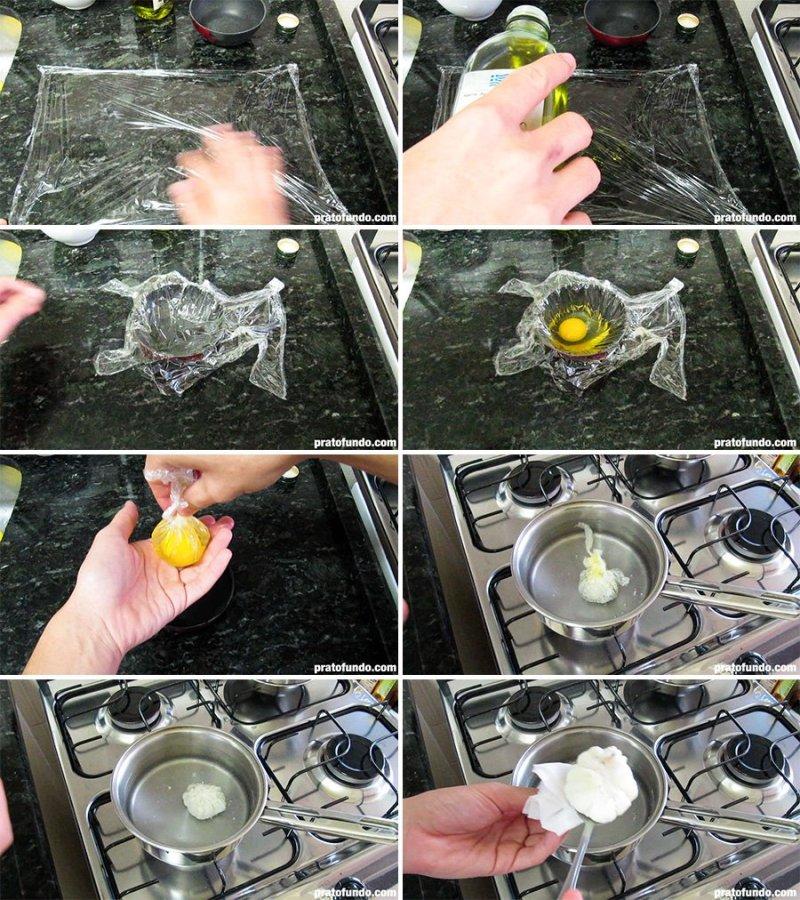 Montagem do passo a passo para fazer ovo poche