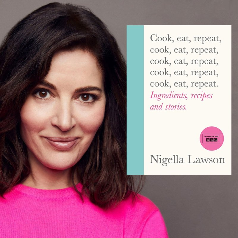 Montagem com a foto da Nigella Lawson com a capa do livro Cook, eat, repeat.