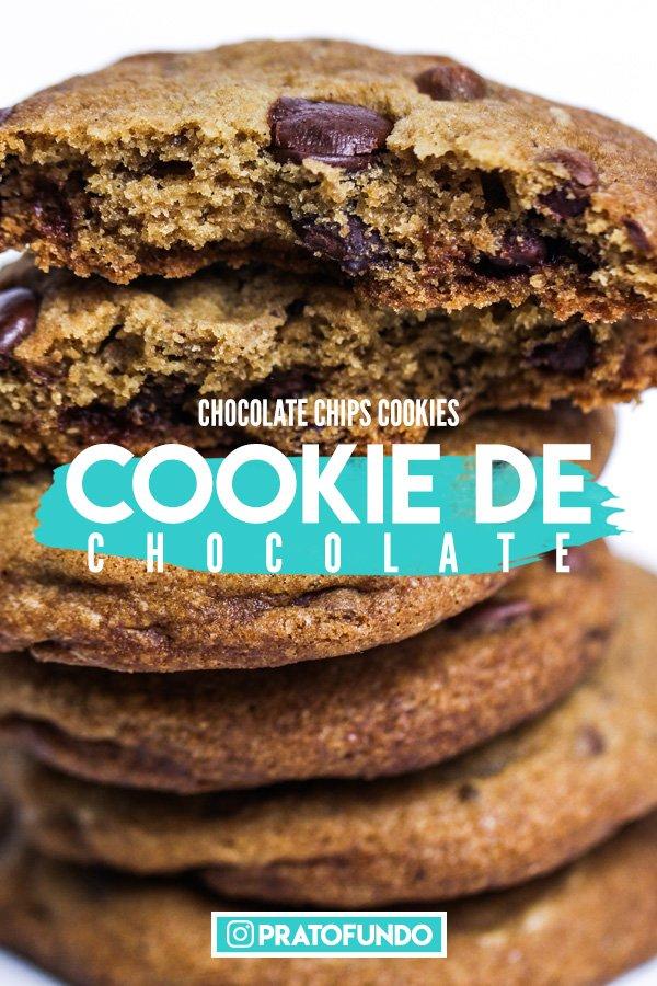 Banner para Pinterest com Cookies empilhados com dizeres Cookie de Chocolate