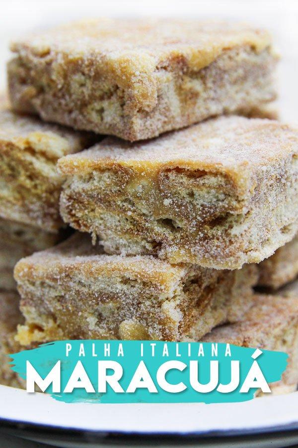 Pedaços de Palha Italiana de Maracujá em um prato