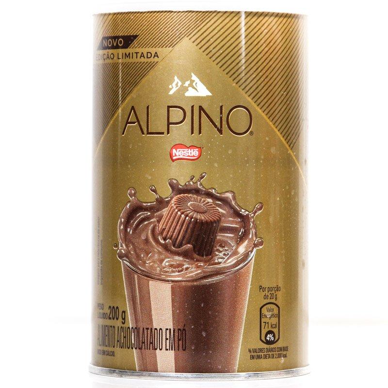 Embalagem da lata do Achocolatado Alpino Nestlé