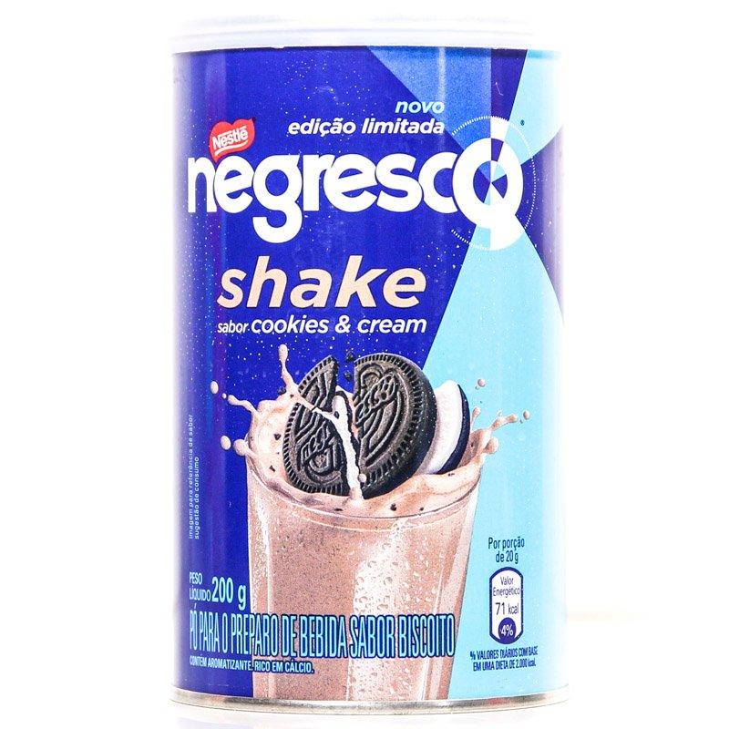 Embalagem da lata do Nestlé Negresco Shake