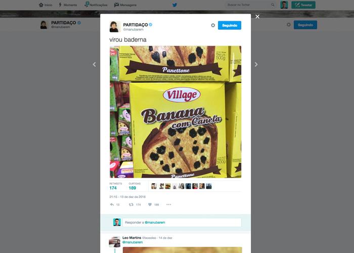 Panetone de Banana: tweet da Manu Barem