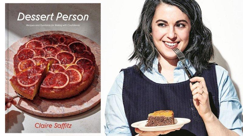 Montagem com a capa do livro Dessert Person da Claire Saffitz com ela, mulher caucasiana com cabelos escuros.