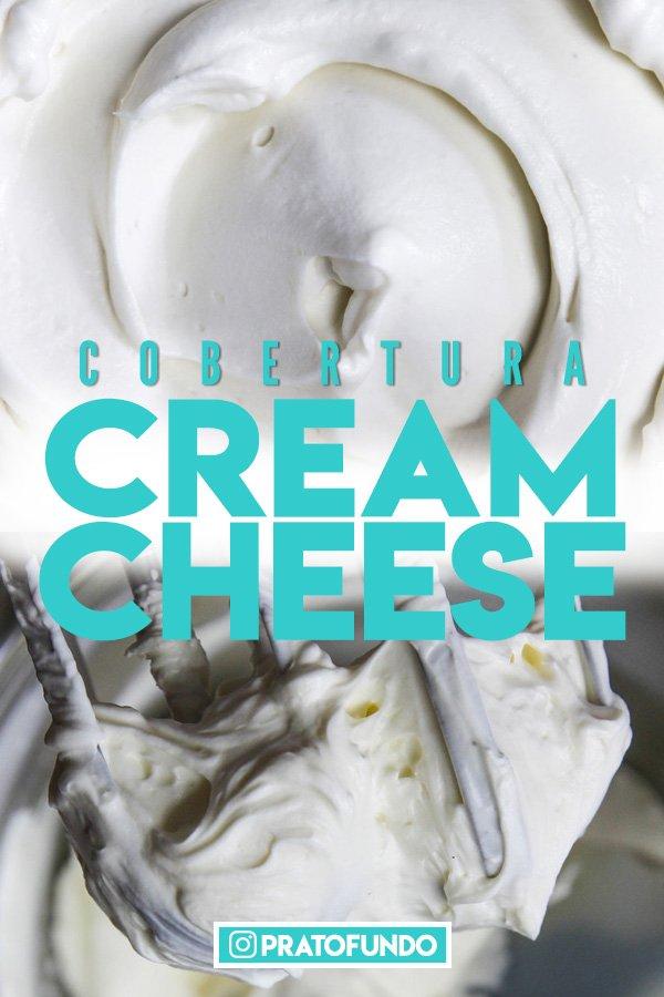 Duas fotos juntas da Cobertura e Recheio de Cream Cheese