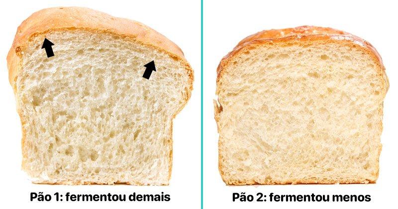Comparativo entre pães que fermentou demais e menos
