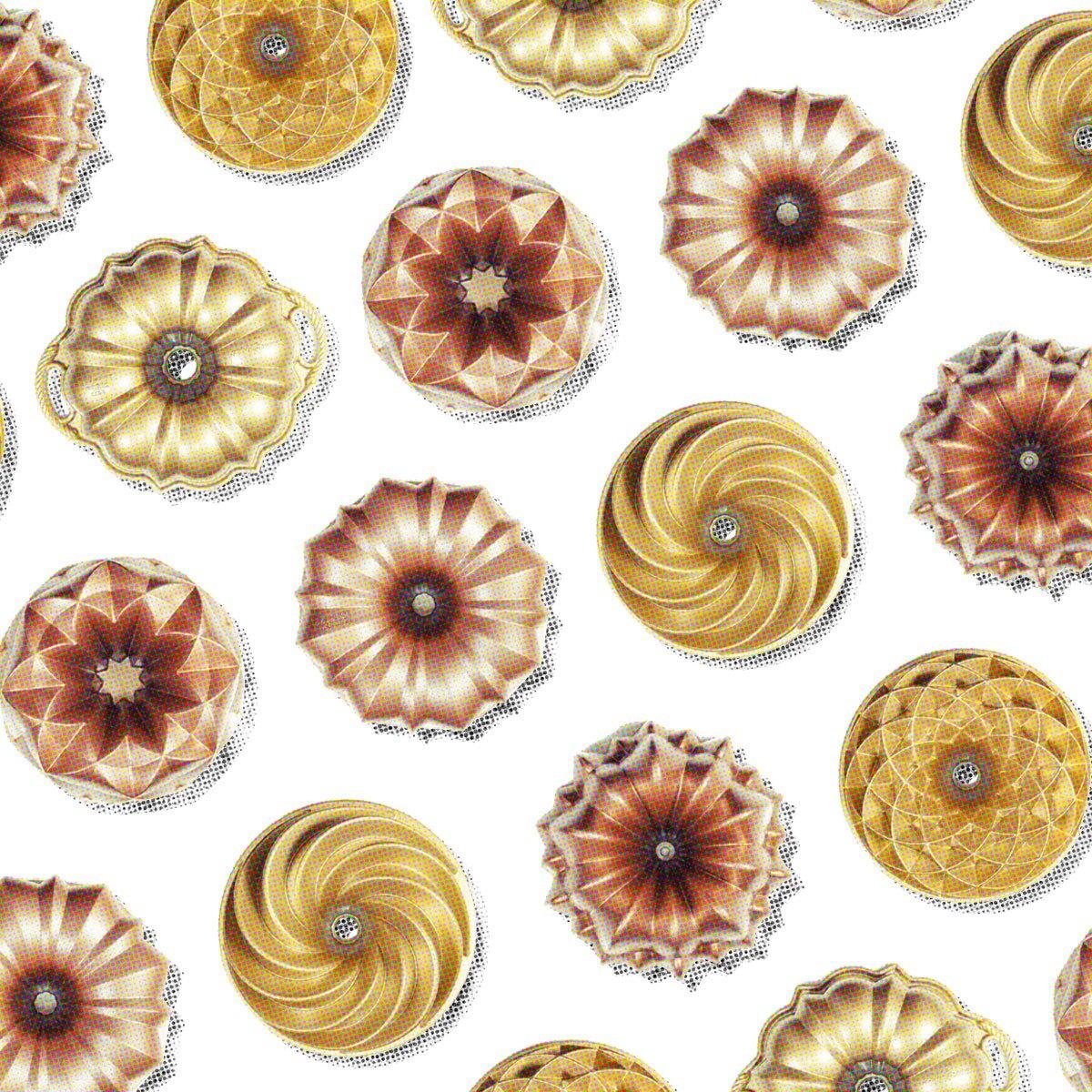 Colagem com imagens de formas de bolo da marca marissa lounina e nordic ware.