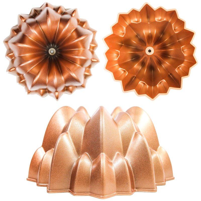 Colagem mostrando o exterior, interior e lateral da forma Cascade