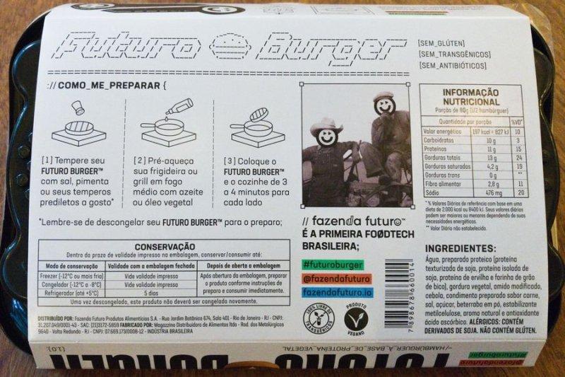 Futuro Burger: informações da tabela nutricional e ingredientes