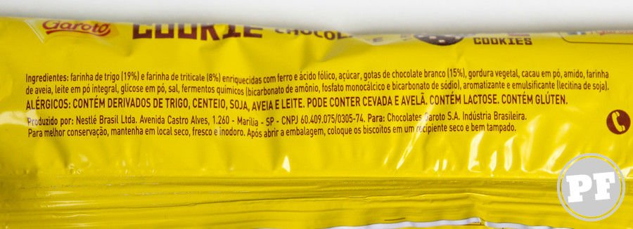 Lista de ingredientes do Garoto Cookie Chocolate
