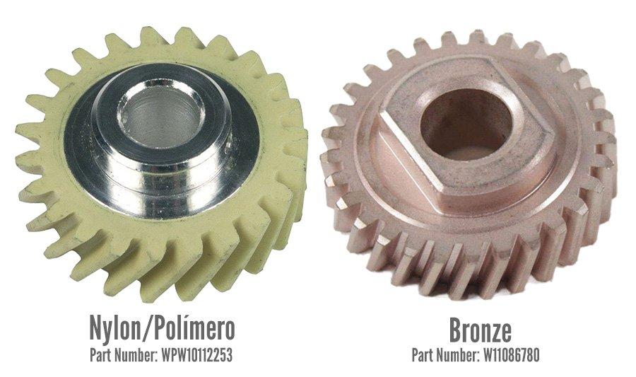 Comparativo entre as engrenagens de nylon e a de bronze entre os modelos de batedeiras