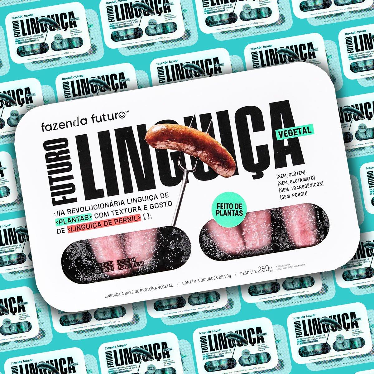 Montagem com a embalagem da Futuro Linguica