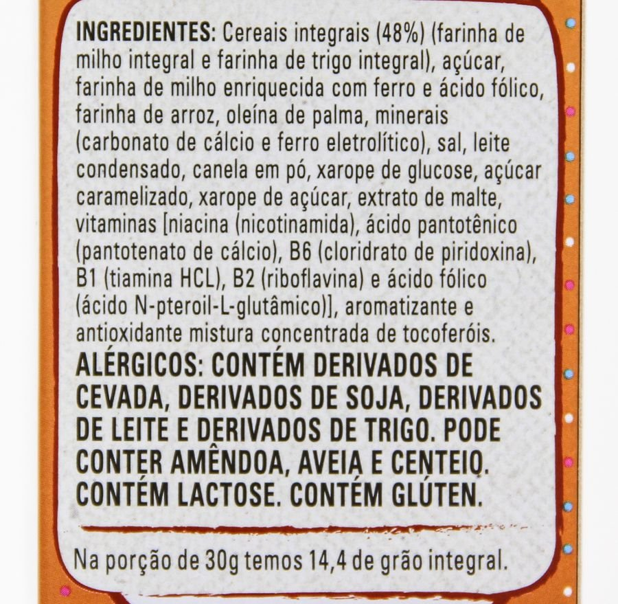 Lista de ingredientes do cereal moça churros