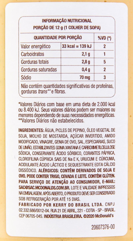 Tabela nutricional e lista de ingredientes do molho especial.