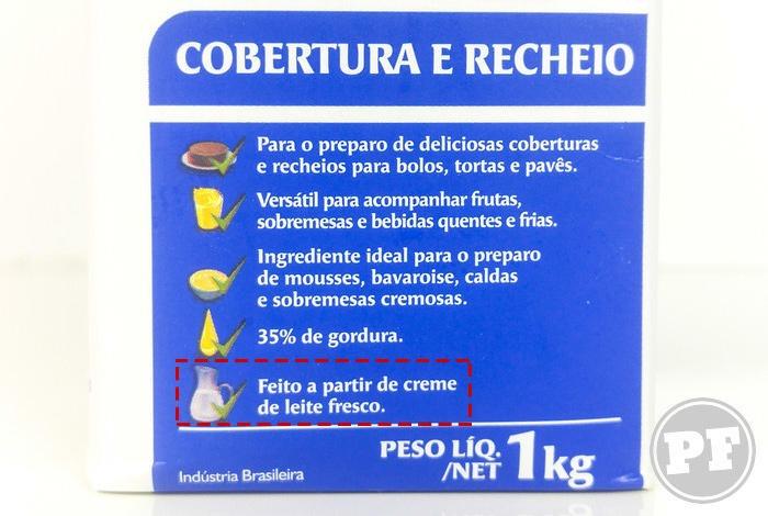 Embalagem do Nestilly com indicação de creme de leite fresco