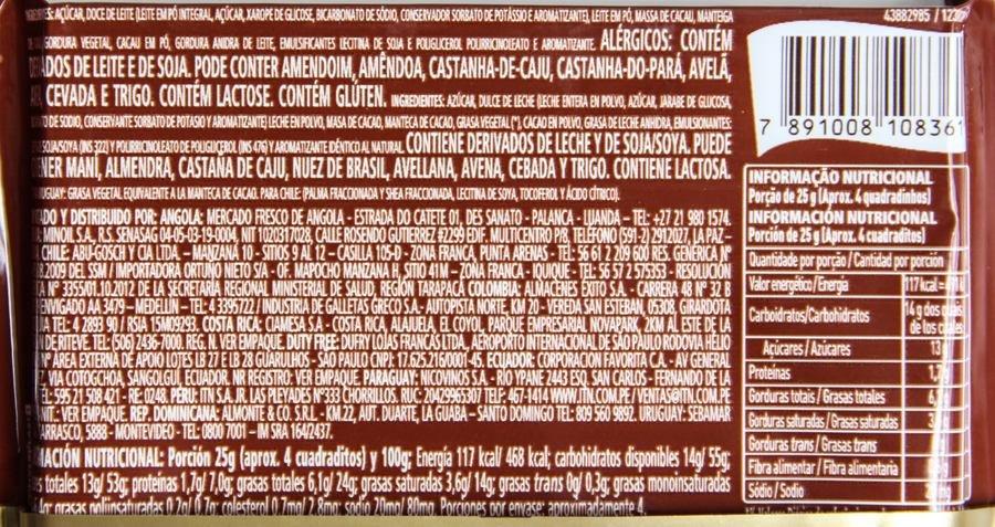 Listagem dos ingredientes e tabela nutricional do Talento Garoto Recheado Dulce de Leche