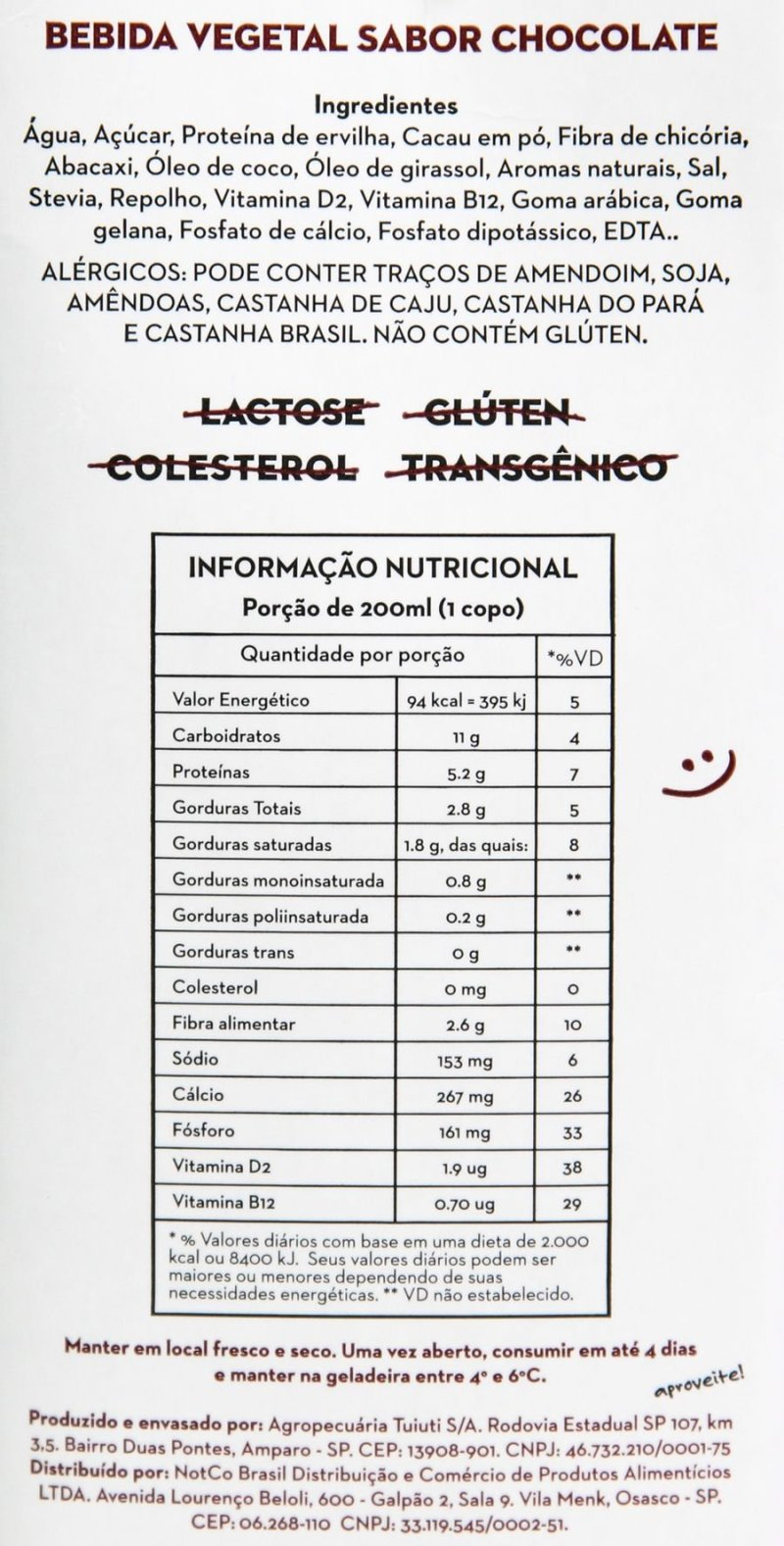 Lista de ingredientes e tabela nutricional do Not Milk: Bebida Vegetal de Chocolate