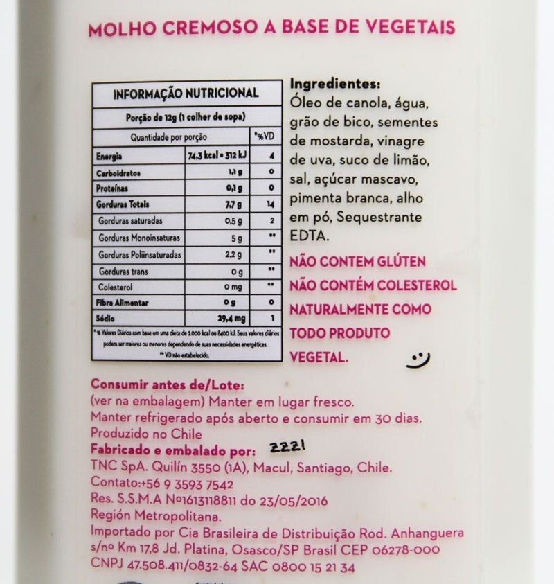 Tabela nutricional e ingredientes da Not Mayo