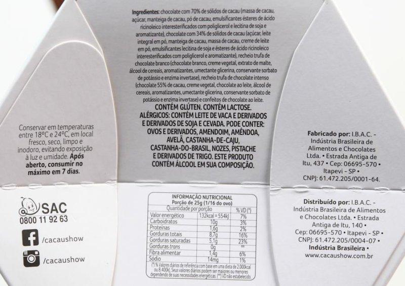 Ingredientes e tabela nutricional do ovo Dreams 5 Chocolates