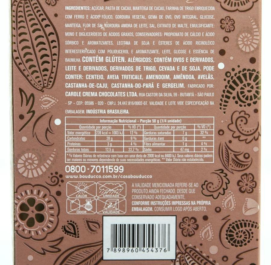 Ingredientes e tabela nutricional do ovo de chocottone
