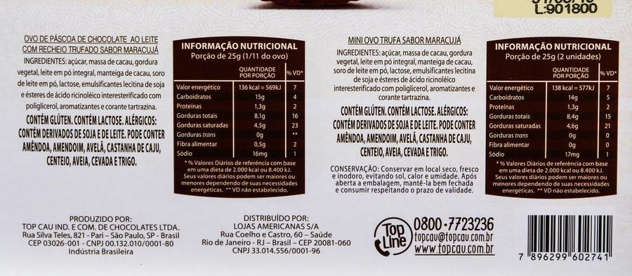 Ingredientes e table nutricional do ovo Ovo Delicce Trufado