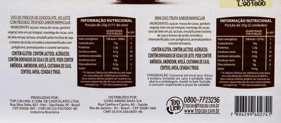 Ingredientes e table nutricional do ovo Ovo Delicce Trufado