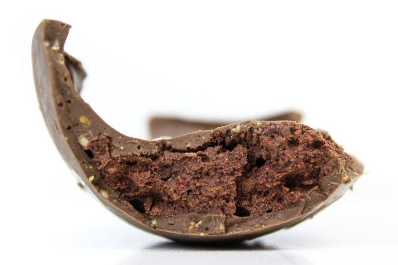 Detalhe do recheio do Embalagem do ovo exagero frutas vermelhas