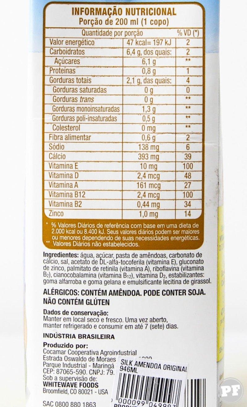 Lista de ingredientes e tabela nutricional Leite de Amêndoas da Silk