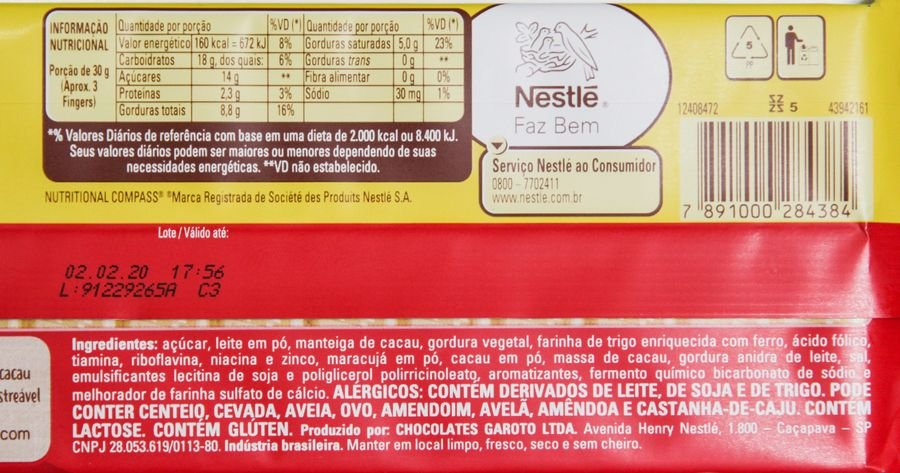Lista de ingredientes e tabela nutricional do Kit Kat Maracujá