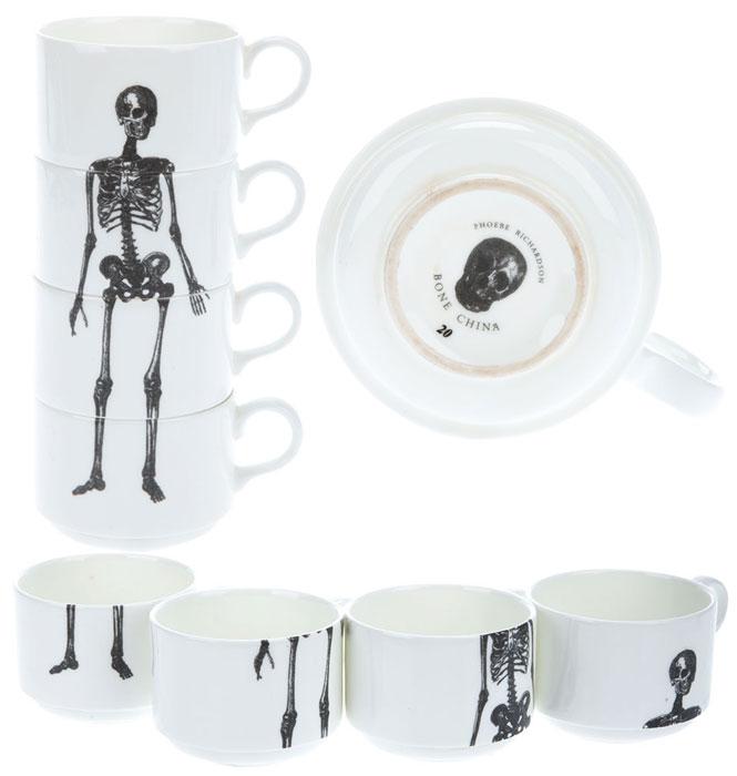Jogo de Xícaras Esqueleto por Phoebe Richardson