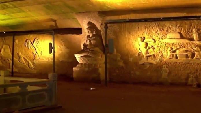 bomba de agua, china, civilizaciones antiguas, cueva, Cuevas, edificaciones, épocas, estanques, Longyou, lugareños, Wu anai