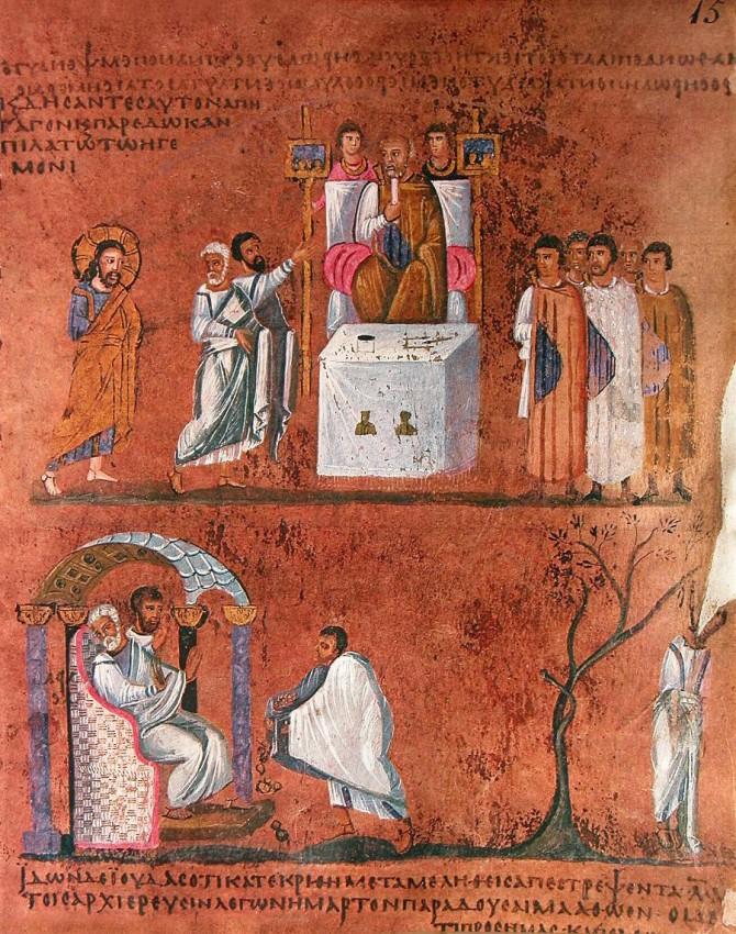 Vendredi saint. Le Christ devant Pilate. VI siècle Vignette de l'évangile de Rossano. Musée à Rossano, Italie