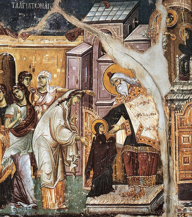 The Virgin Mary before the High Priest. Entrance into the temple of the Most Holy Theotokos. Pancelinos, 13th century. Karyes, Mt. Athos (fragment)