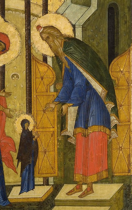 The Virgin Mary before the High Priest Zacharias. Entrance into the temple of the Most Holy Theotokos. St. Cyril of White Lake Monastery, historical-architectural and art museum/national park, 15th century (fragment)