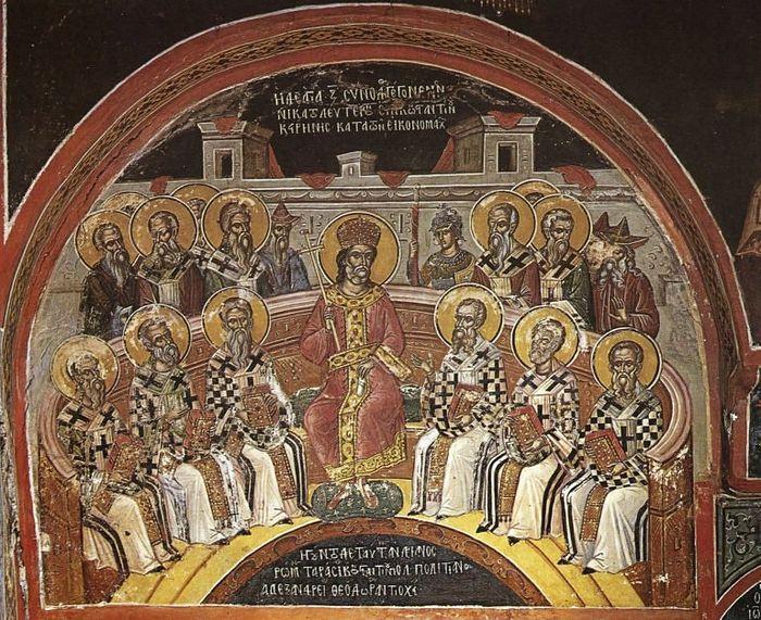 Седьмой Вселенский собор; Греция; XVI в.; мастер: Феофан Критский; местонахождение: Греция. Афон, монастырь Ставроник