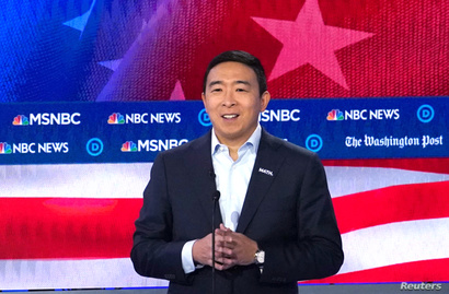 Democratic presidential candidate and entrepreneur Andrew Yang speaks during the U.S. Democratic presidential candidates debate…